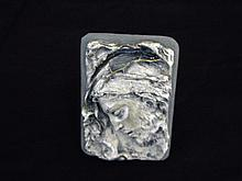 Antique mold of Jesus Christ on small frame.