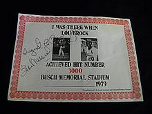 Extremely Rare Lou Brock Baseball Print signed by August Busch jr & Stan Musial