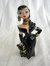 Art Deco Woman with Cat Hand Painted Decanter