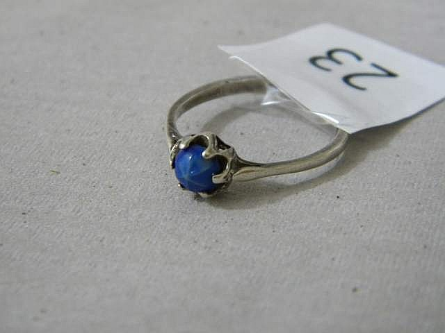 Sterling Silver Ring with Blue Gemstone Size 7