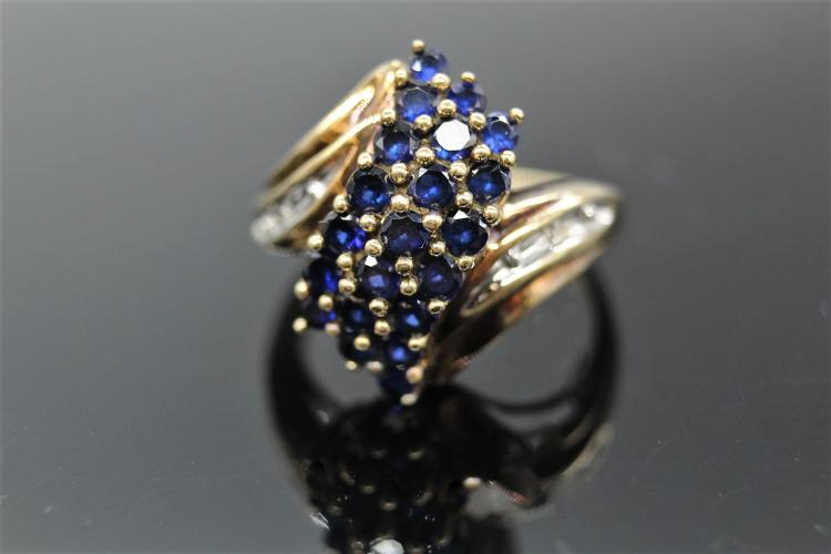 10K Yellow Gold Diamond & Sapphire Ring