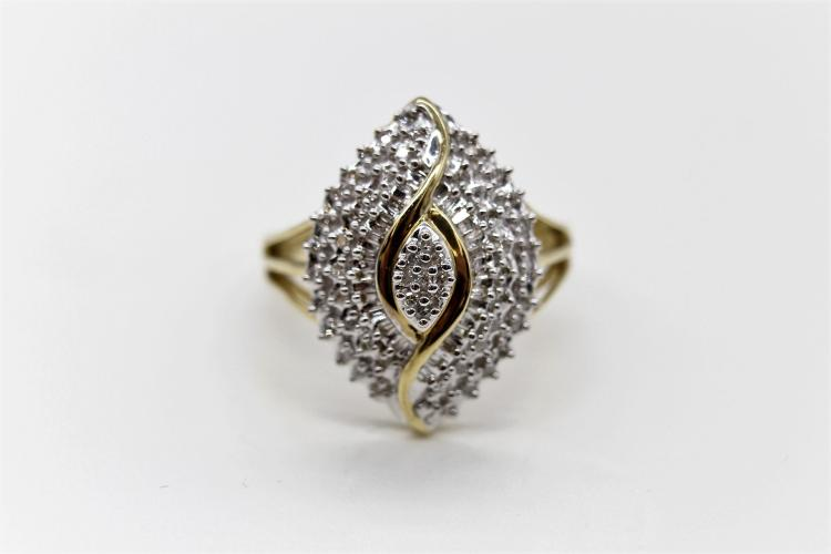 10K Diamond Egyptian Eye Cocktail Ring