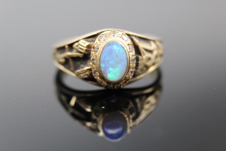 14K Yellow Gold, Opal & CZ Class Ring