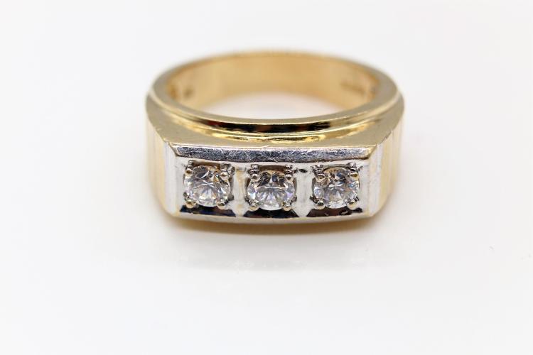 10K Yellow Gold & CZ Men's Ring