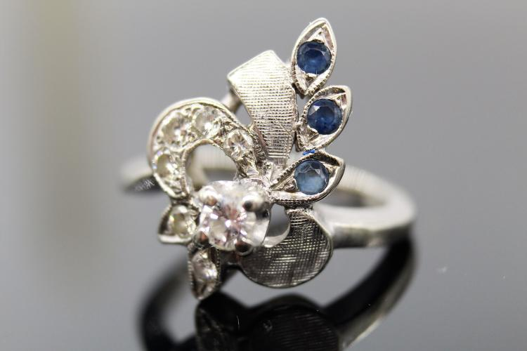 14K White Gold Diamond & Sapphire Bow Ring