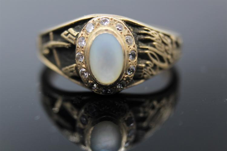 14K Yellow Gold Mother of Pearl & CZ Class Ring