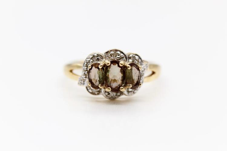 14K Yellow Gold Smokey Topaz & Diamond Ring