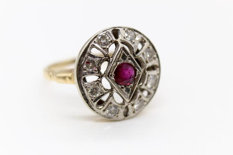 ca. 1920's Art Deco 14K Gold & Platinum Halo Diamond, Ruby Ring