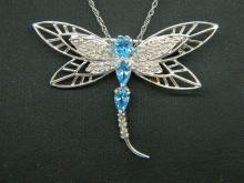 NEW 3/4 CTTW Blue Topaz & Diamond Dragonfly Pendant/Brooch w/ 10k WG Chain