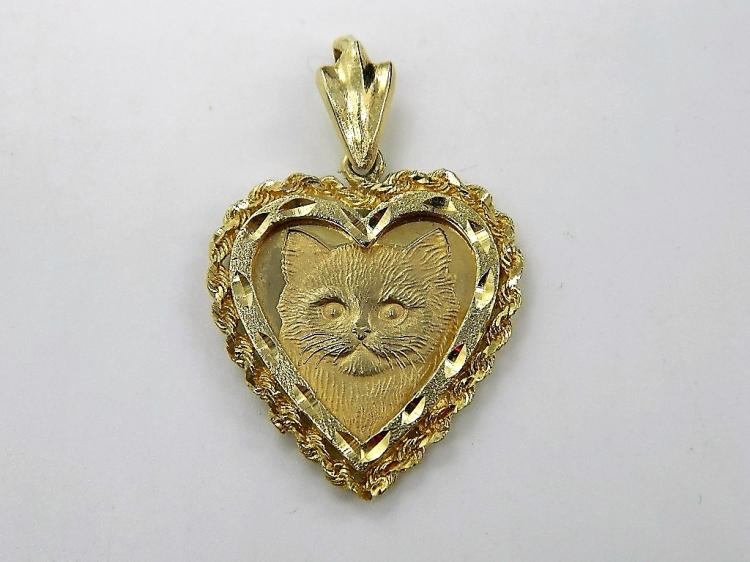 ATTENTION CAT LOVERS! Unique 14k Solid Gold Kitty Cat Cameo Pendant