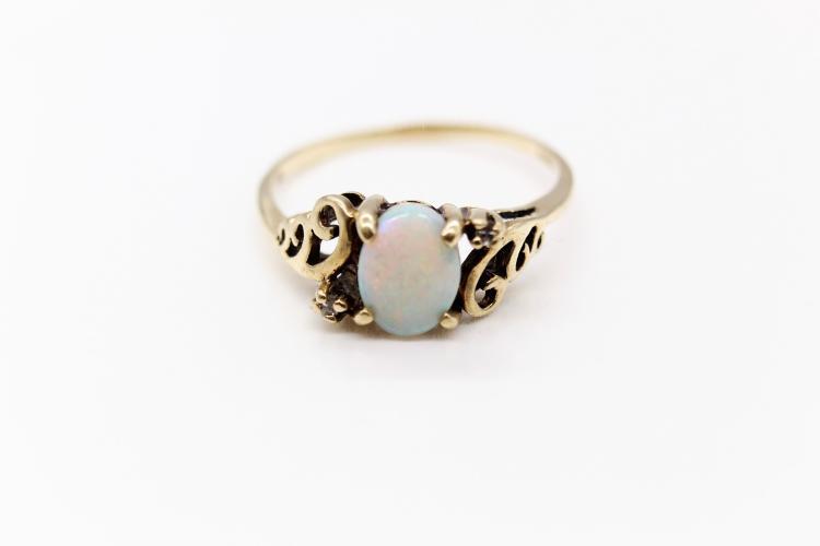 10K Yellow Gold, Opal & Diamond Ring