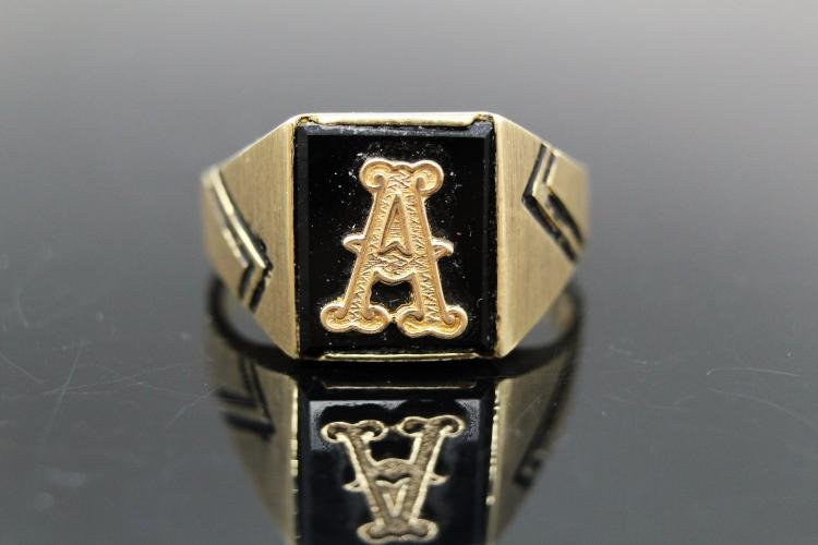 10K Yellow Gold, Men's Initial Ring