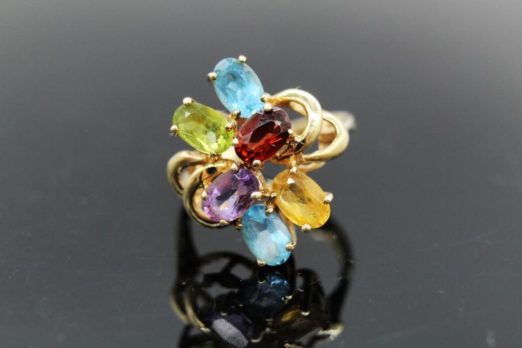 14k Multi Colored Gemstone Ring