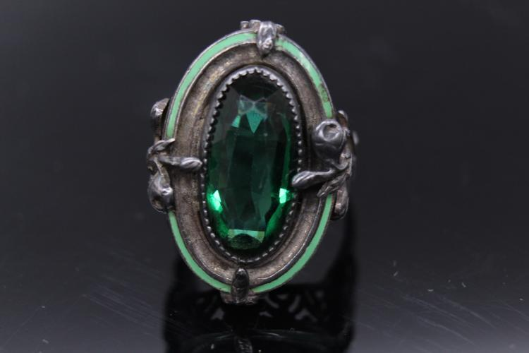 Exquisite Art Nouveau Sterling Silver Green Enameled Floral Oval Set Ring
