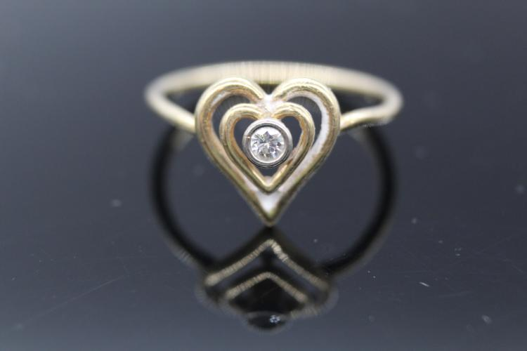 14K Double Heart Shaped Yellow Gold & Diamond Ring