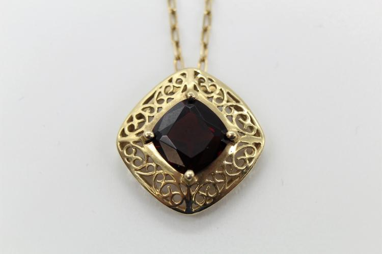 18K Yellow Gold  Natural 1.5ctw +  Garnet Pendant & Chain