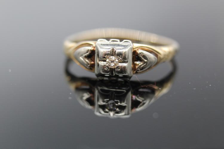 10K Yellow, Rose & White Gold Diamond Ring