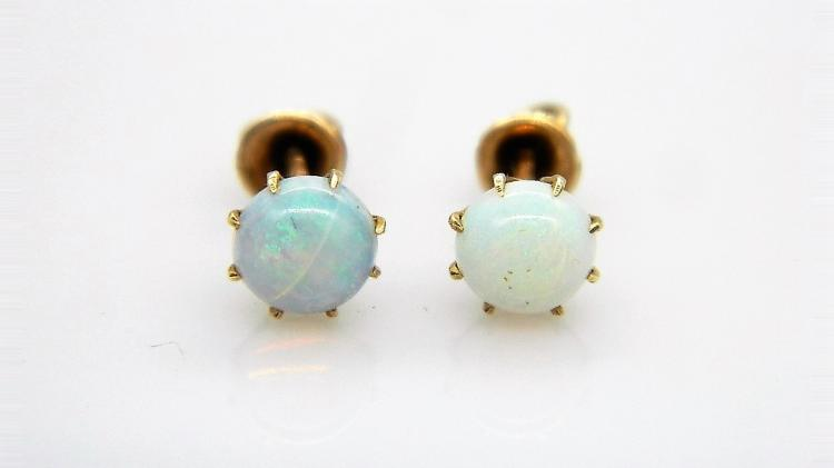 Early 19th Century 12ct Rose Gold & Opal Screw Back Earrings