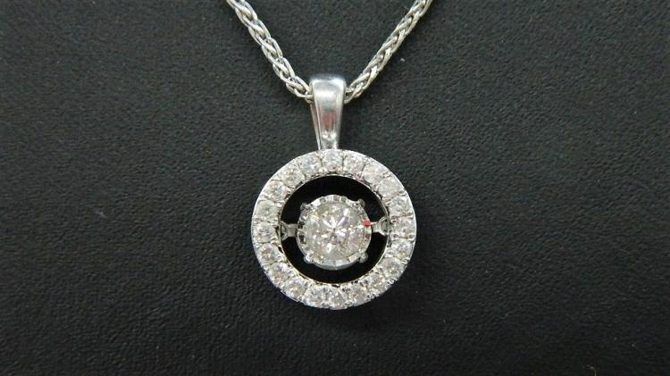 14K White Gold Dancing Diamond In Rhythm Halo Necklace