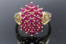 14K Yellow Gold Ruby Cluster Ring
