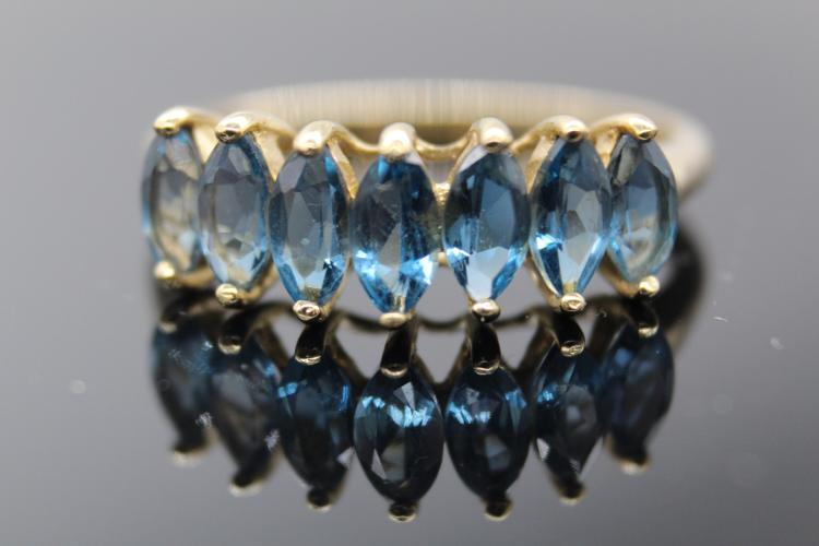 10K Yellow Gold Marquise Cut Blue Topaz Ring