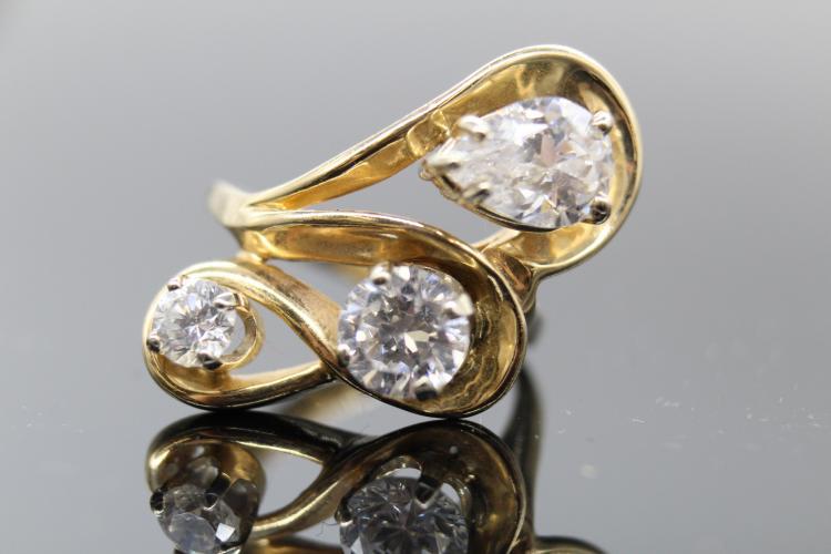 14K Yellow Gold Artistian Custom Evening Ring Pear & Round Cut Diamonds