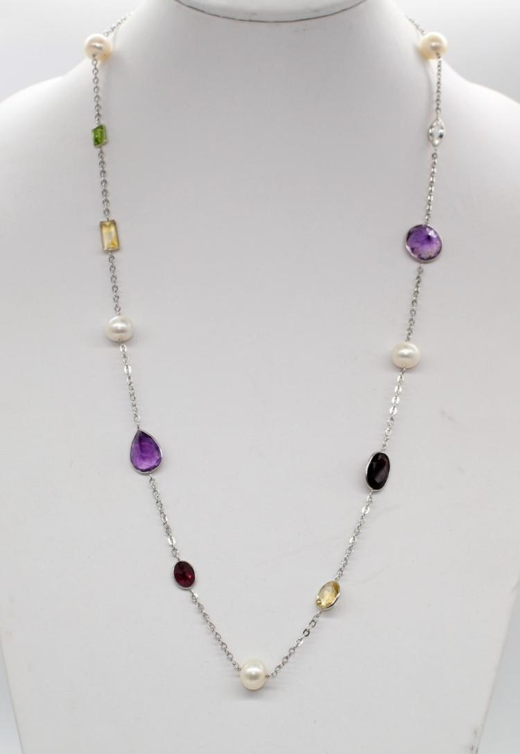 10K White Gold Multi Gemstone Station Necklace, Newest & Hottest Fashion Trend