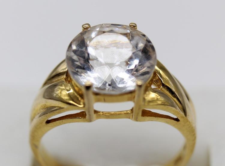 Dazzling 14k Yellow Gold & 2 ct + Cubic Zirconia Wedding Ring