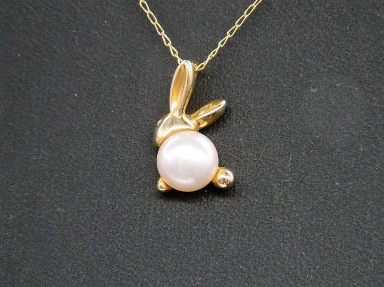 Delightful 10k Gold & Pearl Bunny Rabbit Necklace