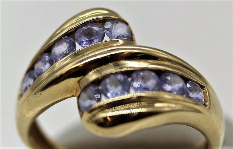 10K Yellow Gold Round Cut *Lavender Sapphire Ring