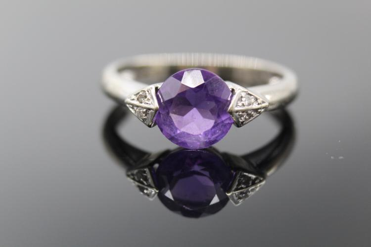 14K White Gold Amethyst & Diamond Ring 1+ ct