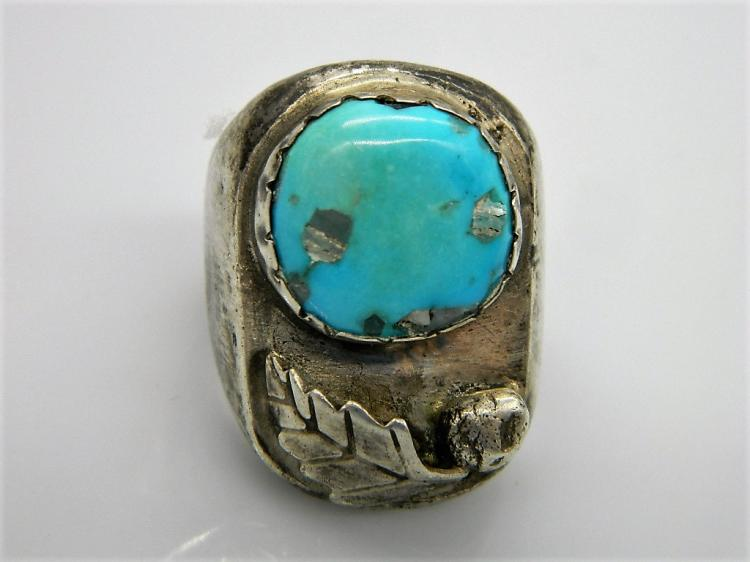 1940's Traditional Old Pawn Sterling Silver Turquoise Ring