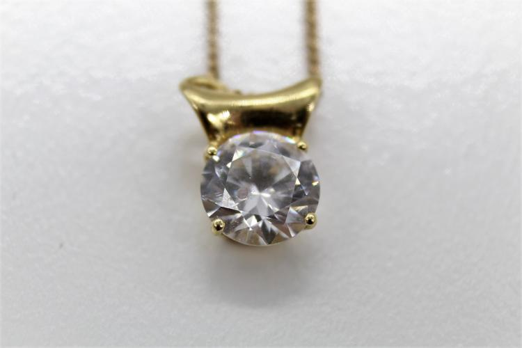 14K Yellow Gold & CZ Solitarie Necklace
