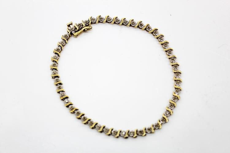 10K Yellow Gold & Diamond Bracelet