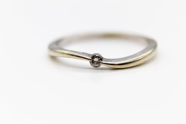 Beautiful 10k Small Center Near Flawless Diamond White Gold Ring