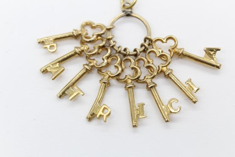 14K Yellow Gold Skeleton Key Patricia Charm Necklace