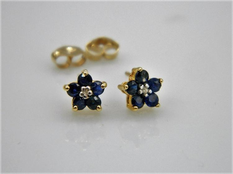 Brand New 10k Gold Sapphire & Diamond Floral Earrings