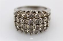 Ravishing 14k WG 3ctw Diamond Cluster Ring