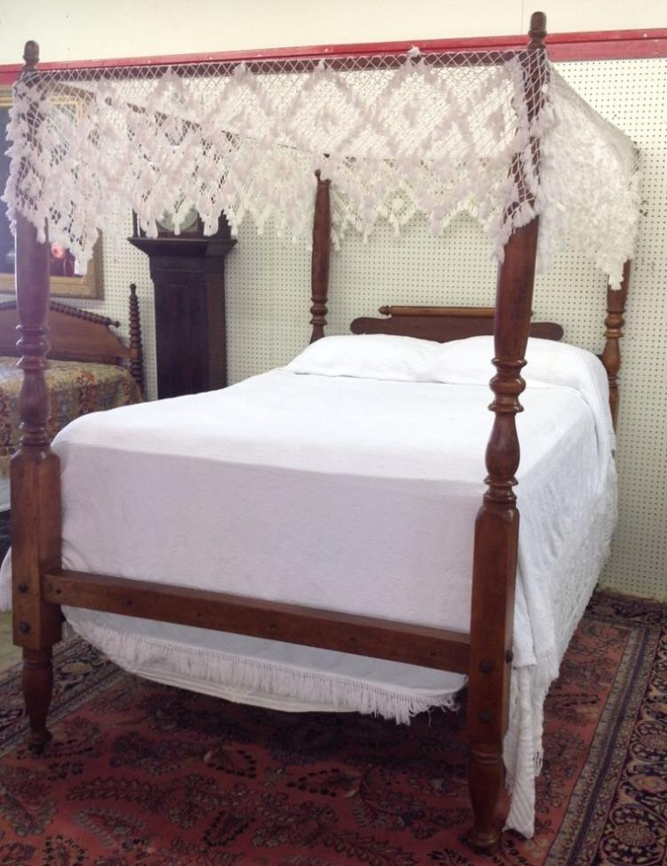 Early american maple rope bed with full tester for American home furniture and mattress