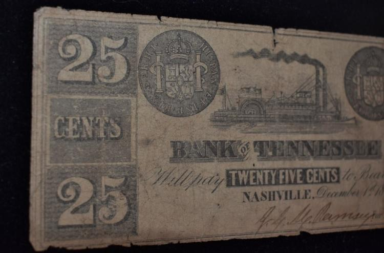 1861 25 Cents Bank Of Tennessee Note