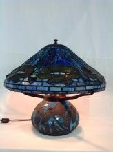 Leaded Glass Dragonfly Lamp