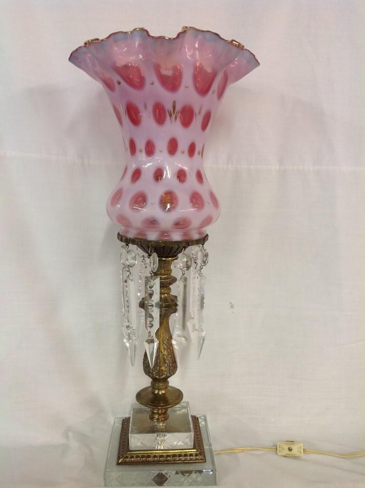 Fenton Thumbprint Hurricane Lamp