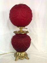 Old Fenton Ruby Red Satin Gone With The Wind Lamp