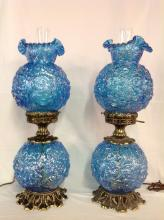 Pair of Fenton Ice Blue Poppy Iridescent Hurricane Lamp