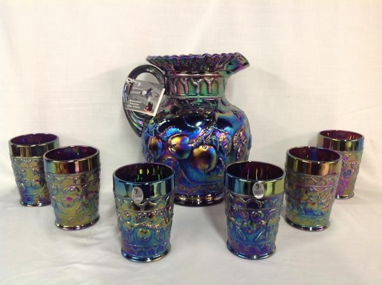 Fenton Iridescent Rainbow Apple Pattern Water Pitcher Set and 6 Glasses