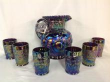 Fenton Iridescent Rainbow Apple Pattern Water Pitcher Set and 6 Glasses