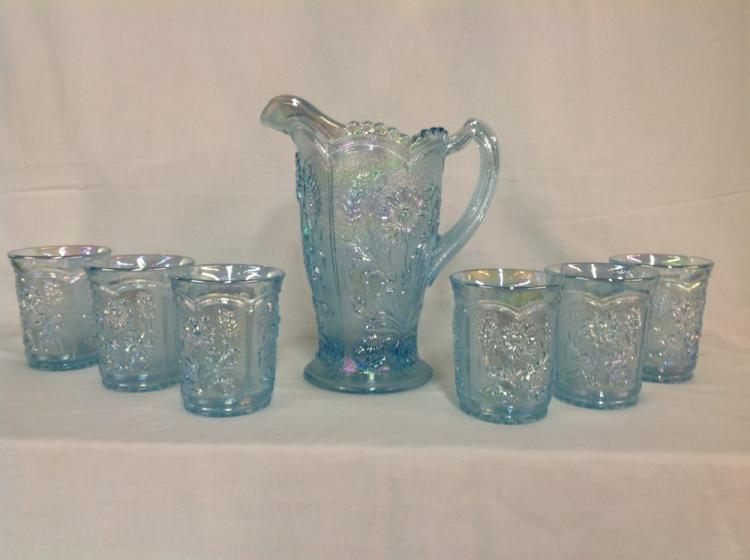 Imperial Glass Water Pitcher Set with 6 Light Blue Sunflower Glasses