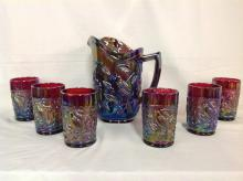 Imperial Glass Bird Parakeet Patern Red Water Pitcher Set