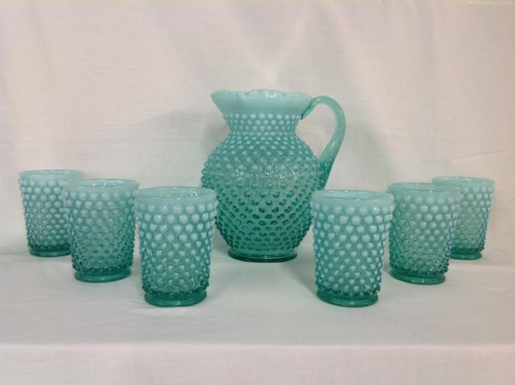 Fenton Hobnail Water Pitcher with 6 Glasses