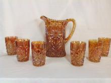 Westmoreland Sunflower Iridescent Gold Water Pitcher with 6 Glasses